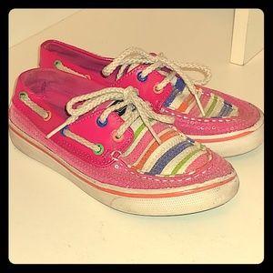 Hot pink glittery boat shoes sperrys